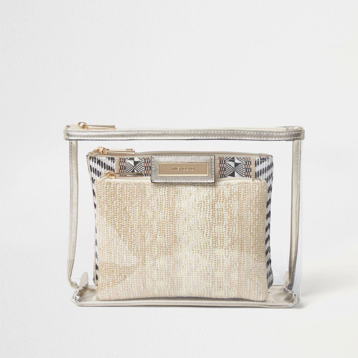 Metallic clear woven make-up bag set
