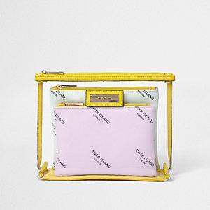 Kosmetiktaschen-Set in Transparent und Gelb mit Markenlogo