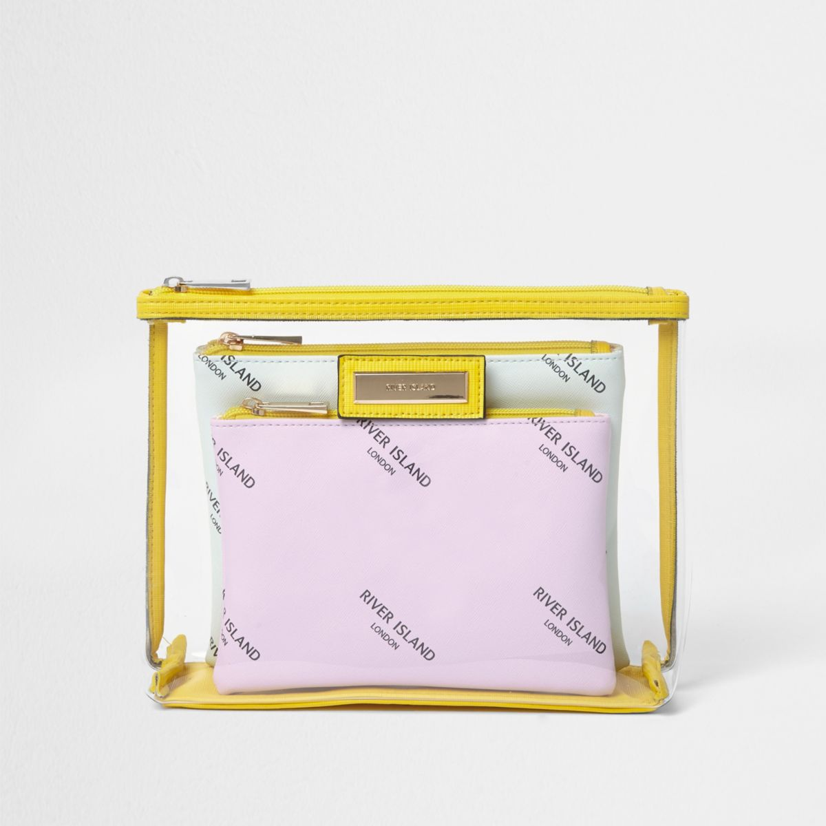 Yellow clear plastic branded make-up bag set