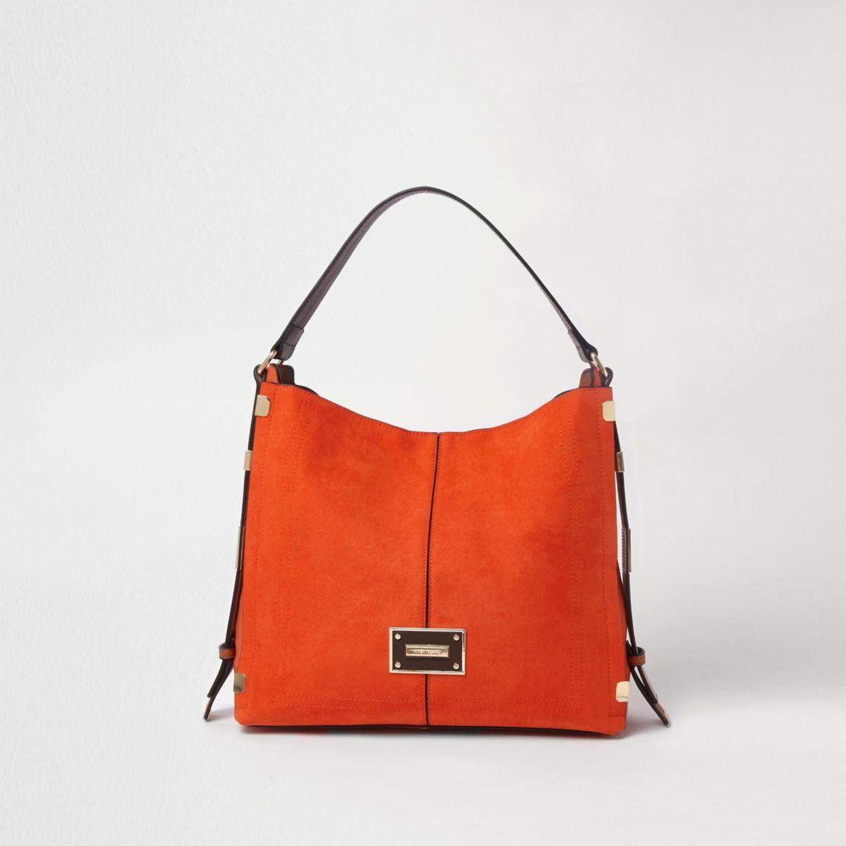 Orange side tab slouch bag