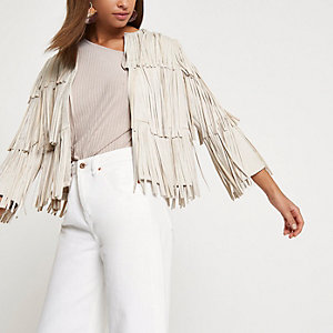Cream faux suede fringe jacket
