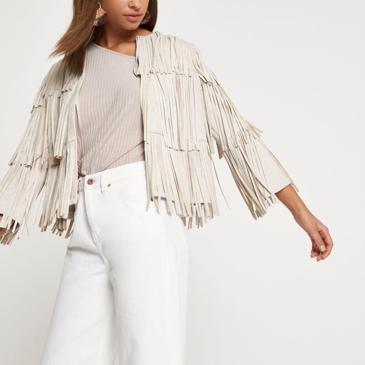 Cream faux suede fringe jacket