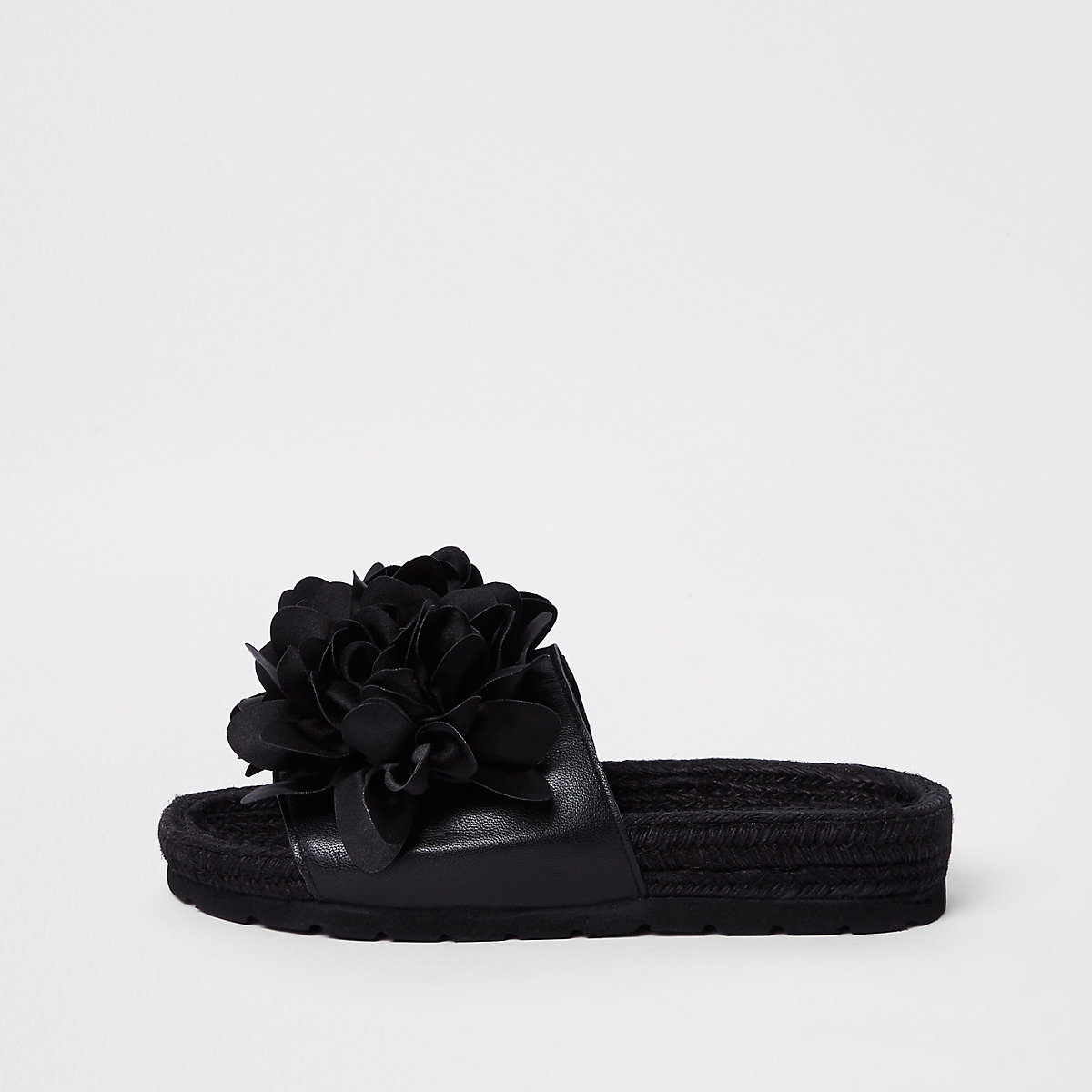 Black flower espadrille sliders