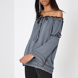 Blue embroidered trim bardot smock top