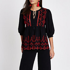 Black broderie tie neck smock top
