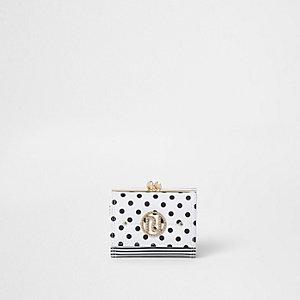 Mini porte-monnaie à pois blanc à fermoir clip