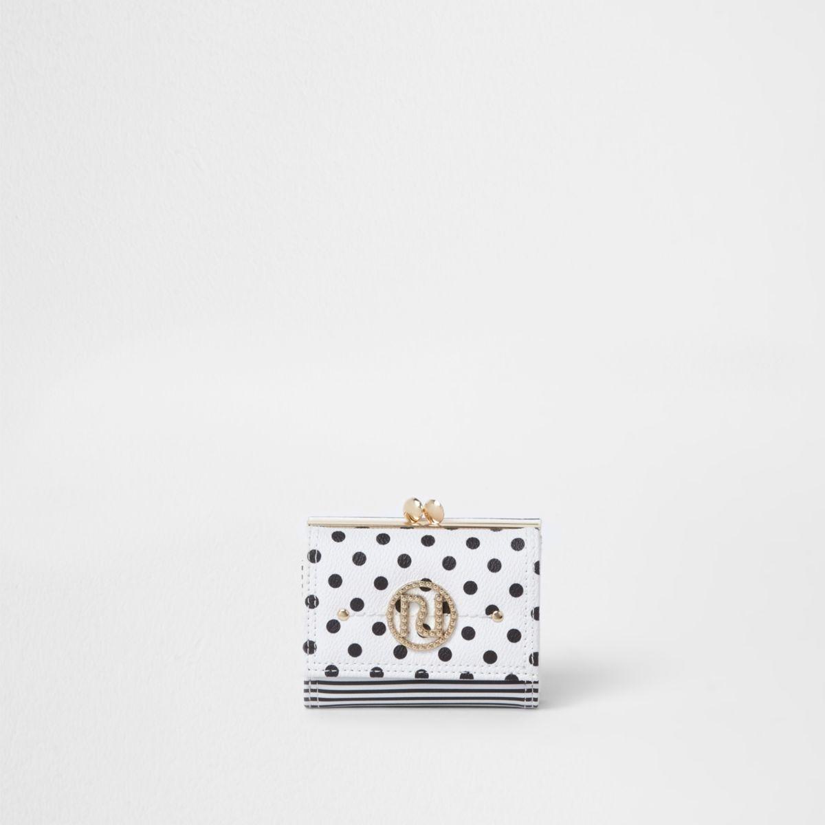 White polka dot mini clip top purse