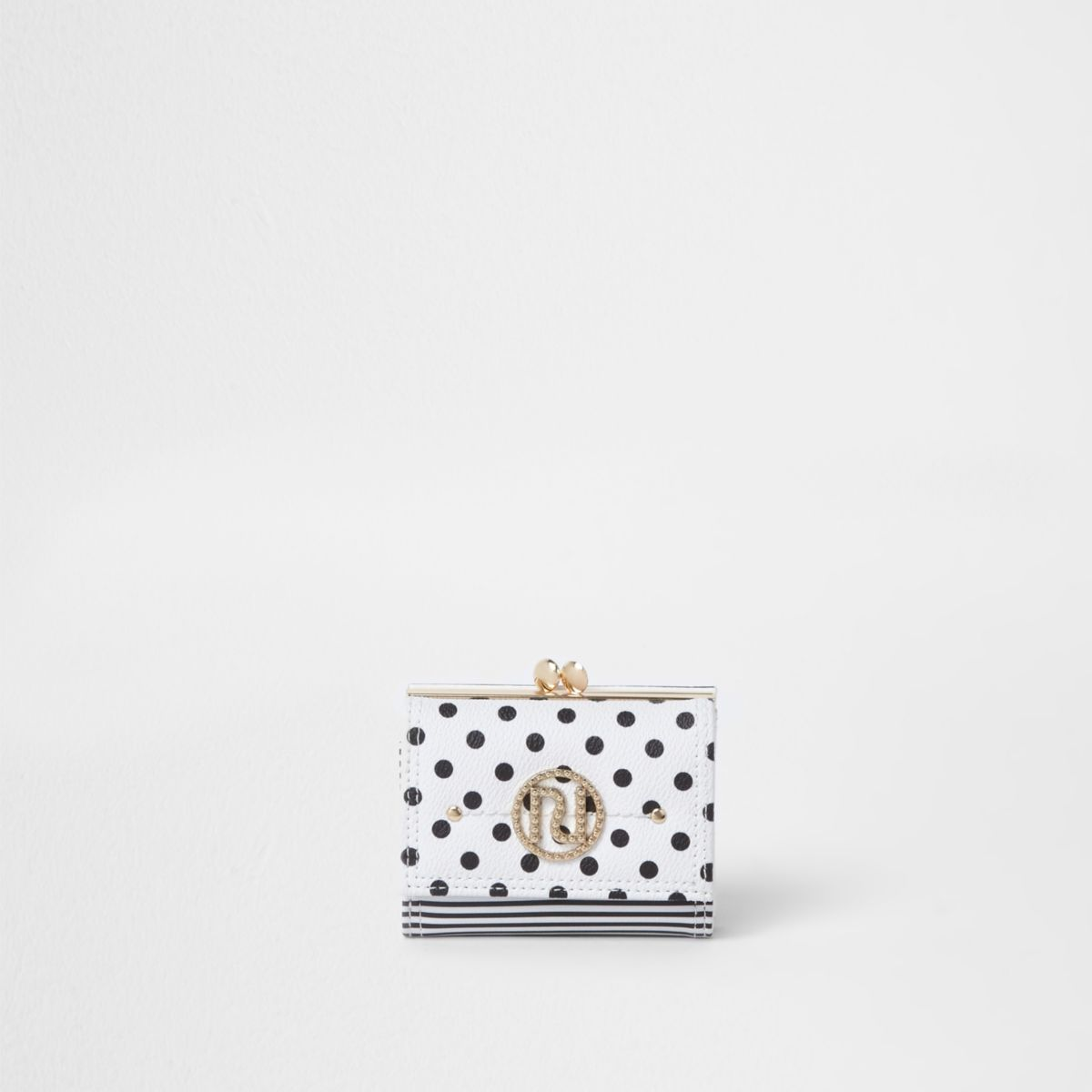 White polka dot mini clip top purse