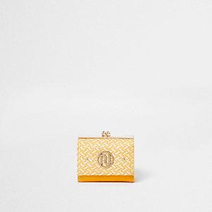Gele verfraaide portemonnee met druksluiting, diamantjes en RI-logo