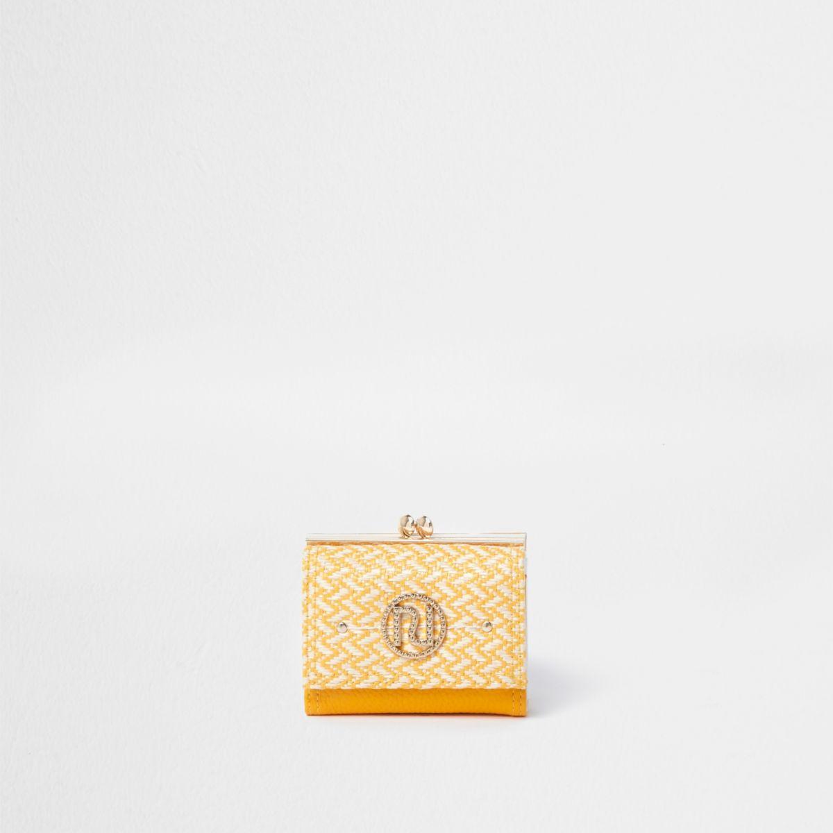 Yellow diamante embellished RI clip top purse