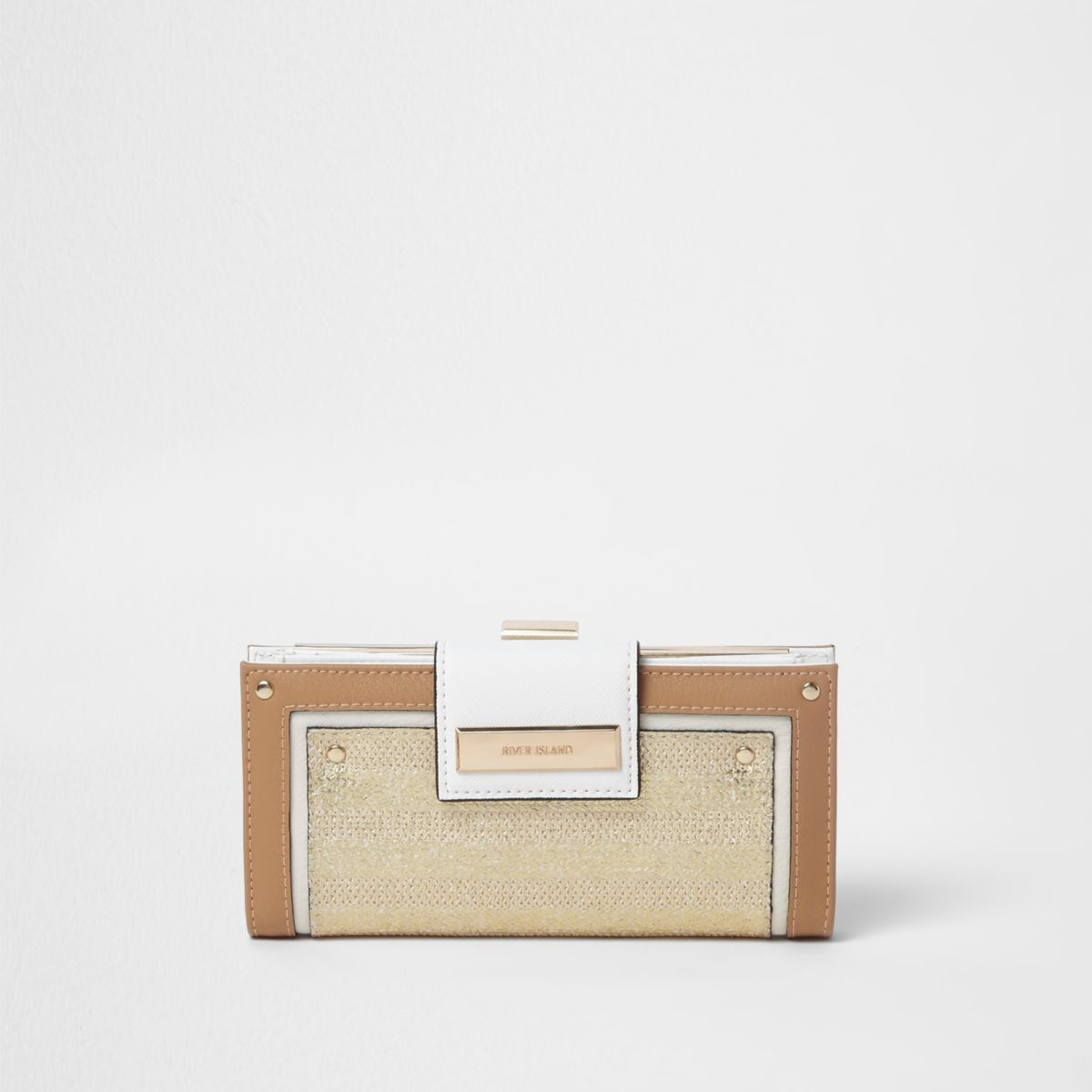 Beige metallic woven panel clip top purse