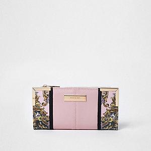 Pink scarf print panel slim foldout purse