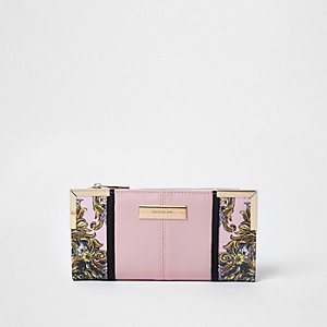 Roze smalle uitvouwbare portemonnee met sjaalprint