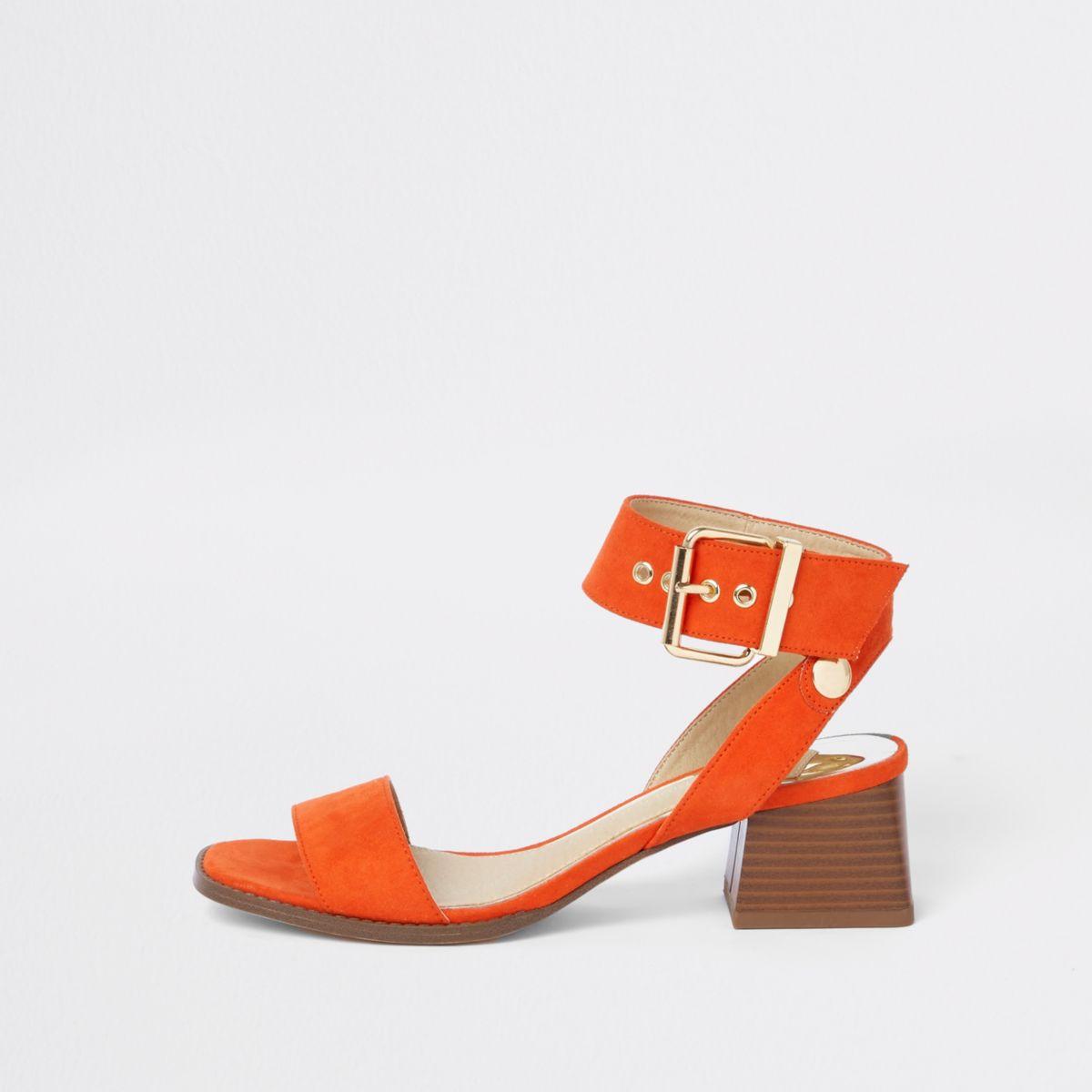Red two part block heel sandals