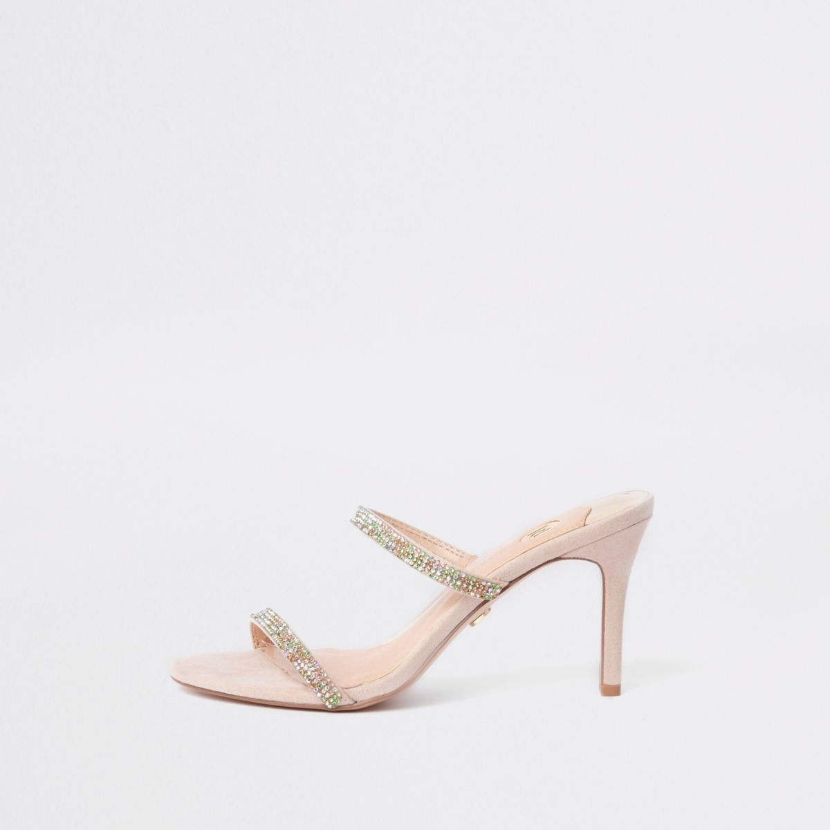 Light pink barely there slip on stiletto mule