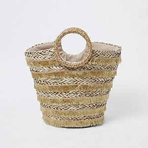 Gold woven fringe straw basket beach bag