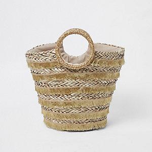 Gold woven fringe straw basket beach bag