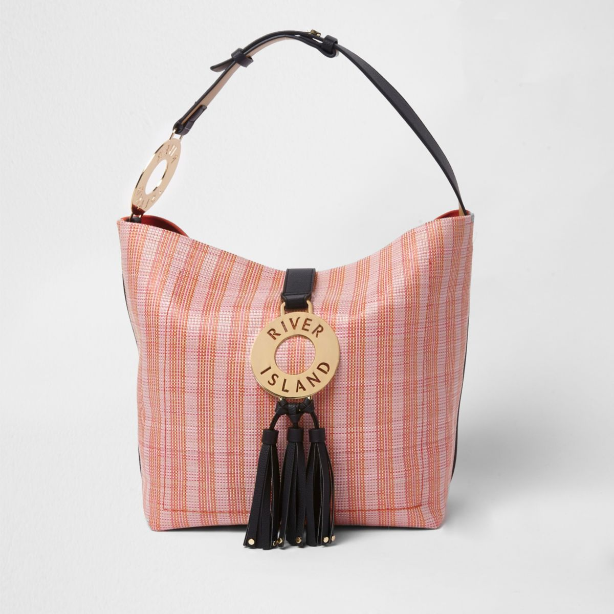Pink woven hoop and tassel slouch tote bag