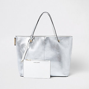 Silver metallic beach tote bag