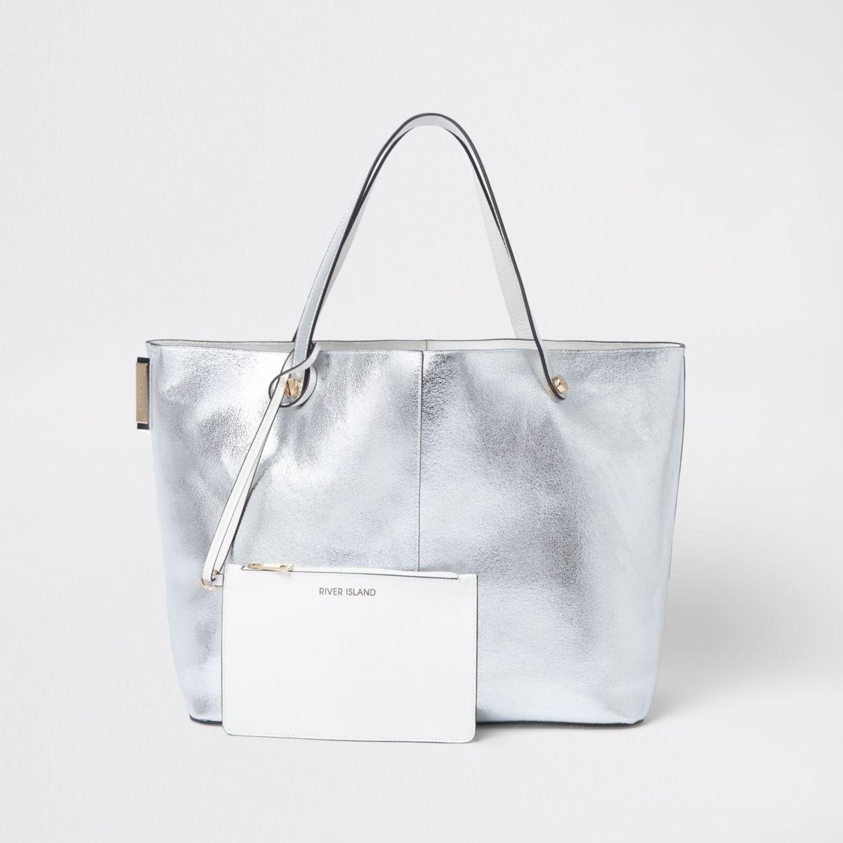 Silver metallic beach tote bag