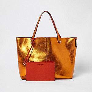 Orange metallic reversible beach tote bag