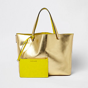 Gold metallic beach tote bag