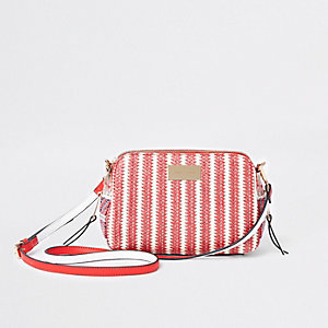 Red mixed weave cross body bag