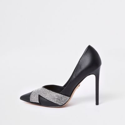 Black Embellished Court Shoes by River Island