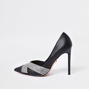 Black embellished court shoes