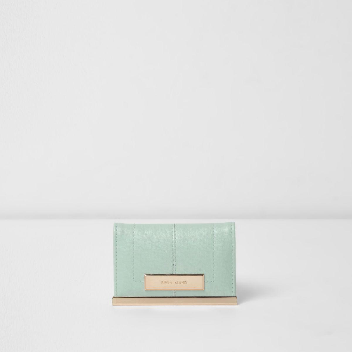 Mint green travel card wallet