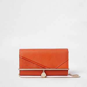Orange cutabout chain clutch bag