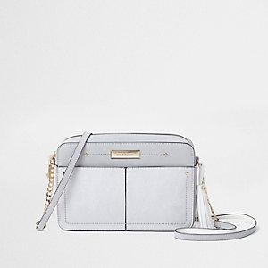 Grey tassel boxy cross body bag