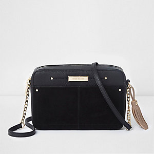 Black boxy front pocket cross body chain bag