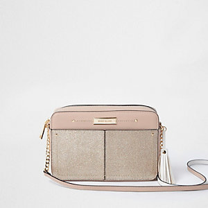Nude metallic front cross body chain bag