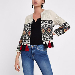 White embroidered tassel hem jacket