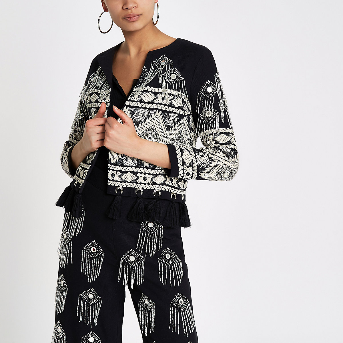 Black embroidered tassel jacket