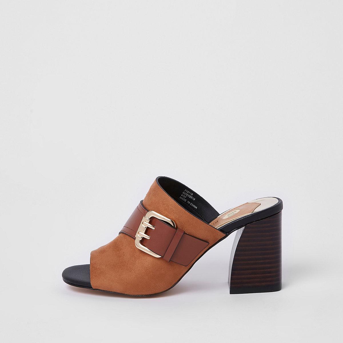 Tan buckle block heel mules