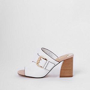 White buckle wide fit block heel mule sandals