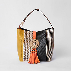 Black hoop and tassel slouch tote bag