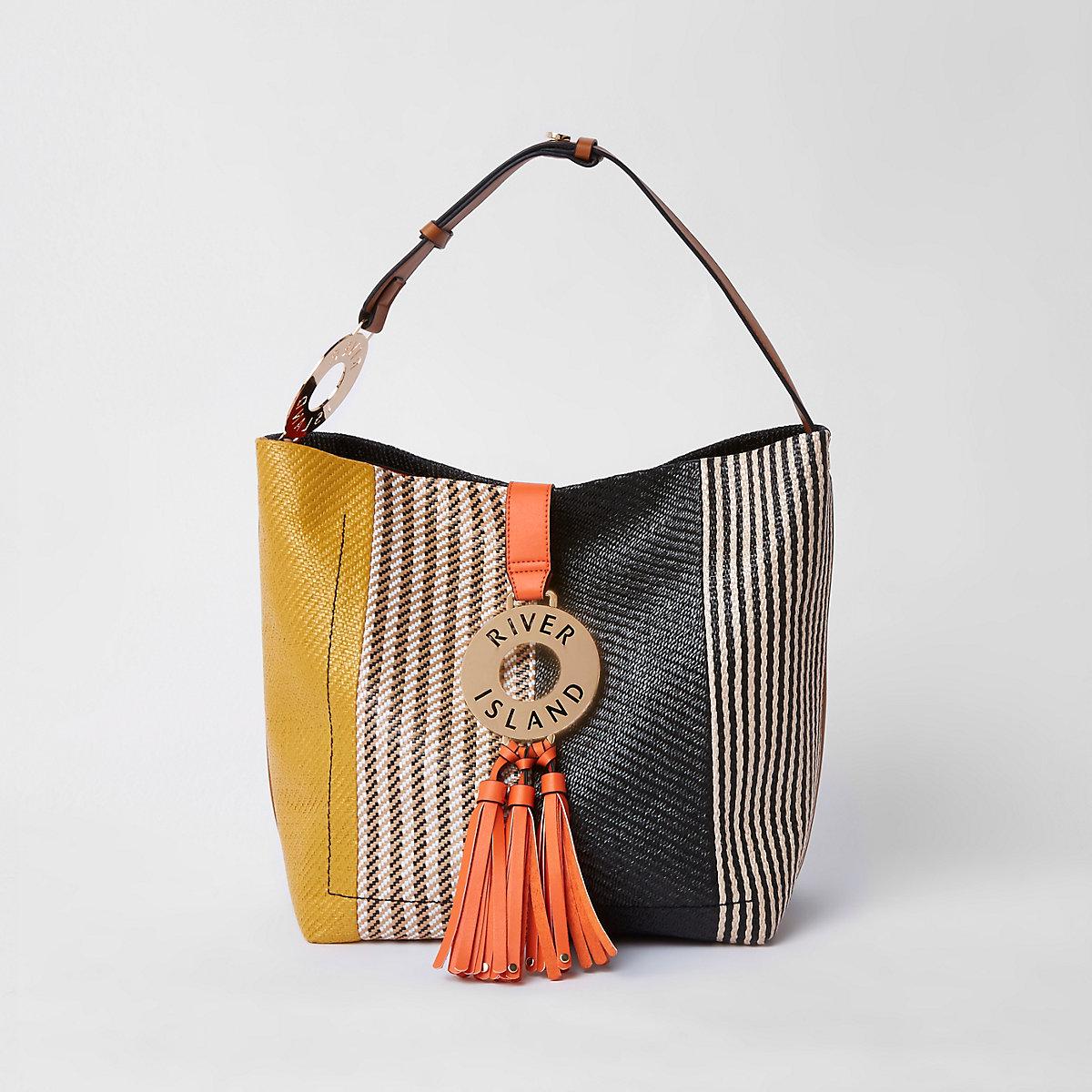 a0e46603cd Black hoop and tassel slouch tote bag - Shoulder Bags - Bags & Purses -  women