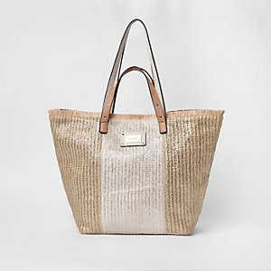 Gold woven oversized beach shopper bag
