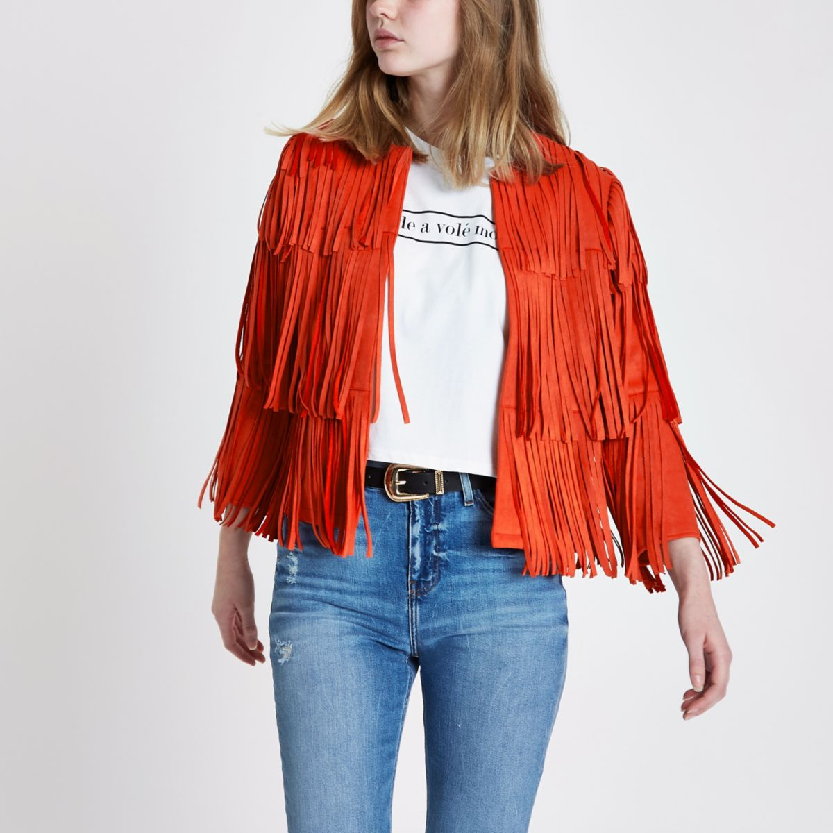 Red faux suede fringe jacket