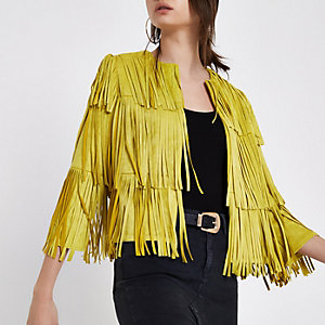 Yellow faux suede fringe jacket