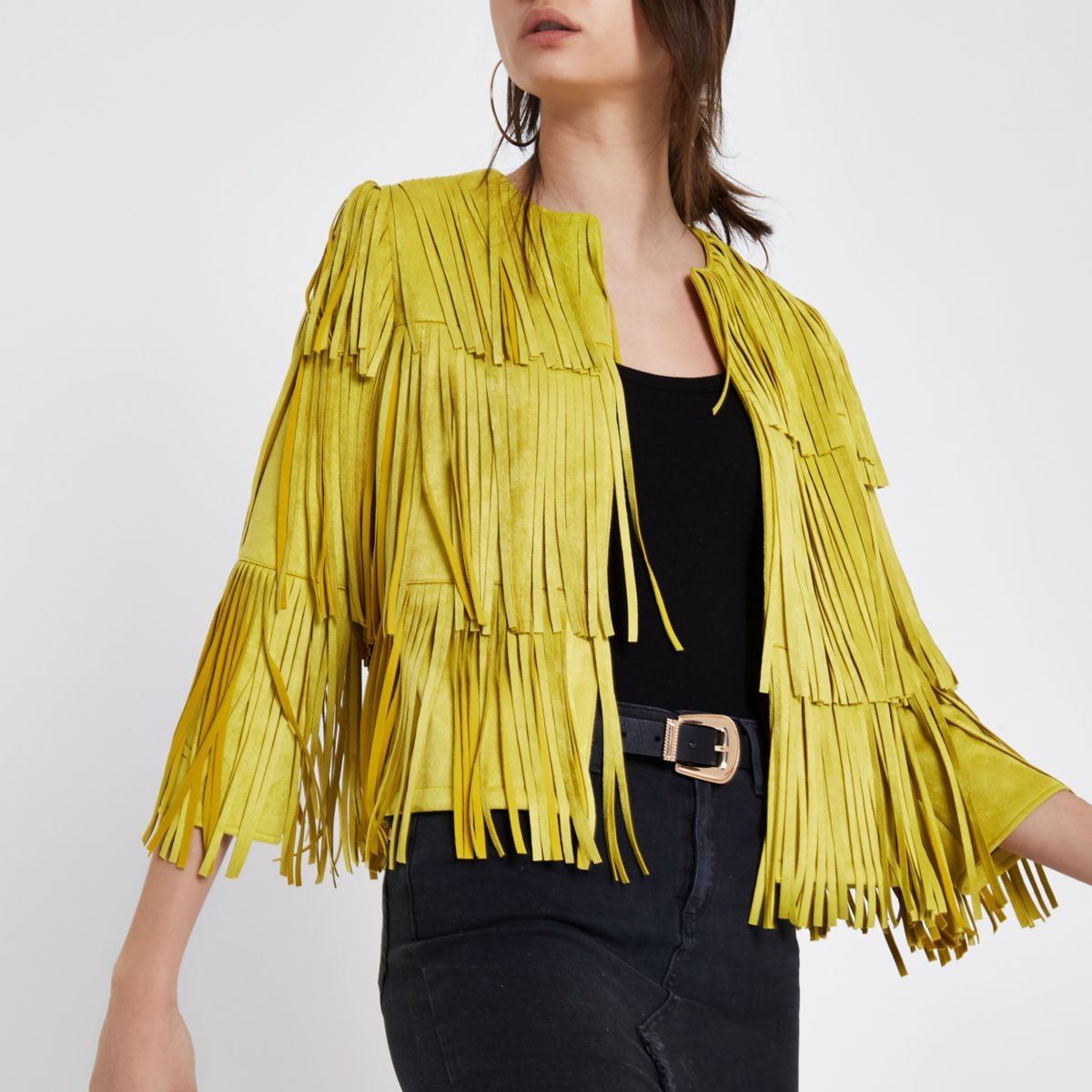 Yellow faux suede fringe jacket
