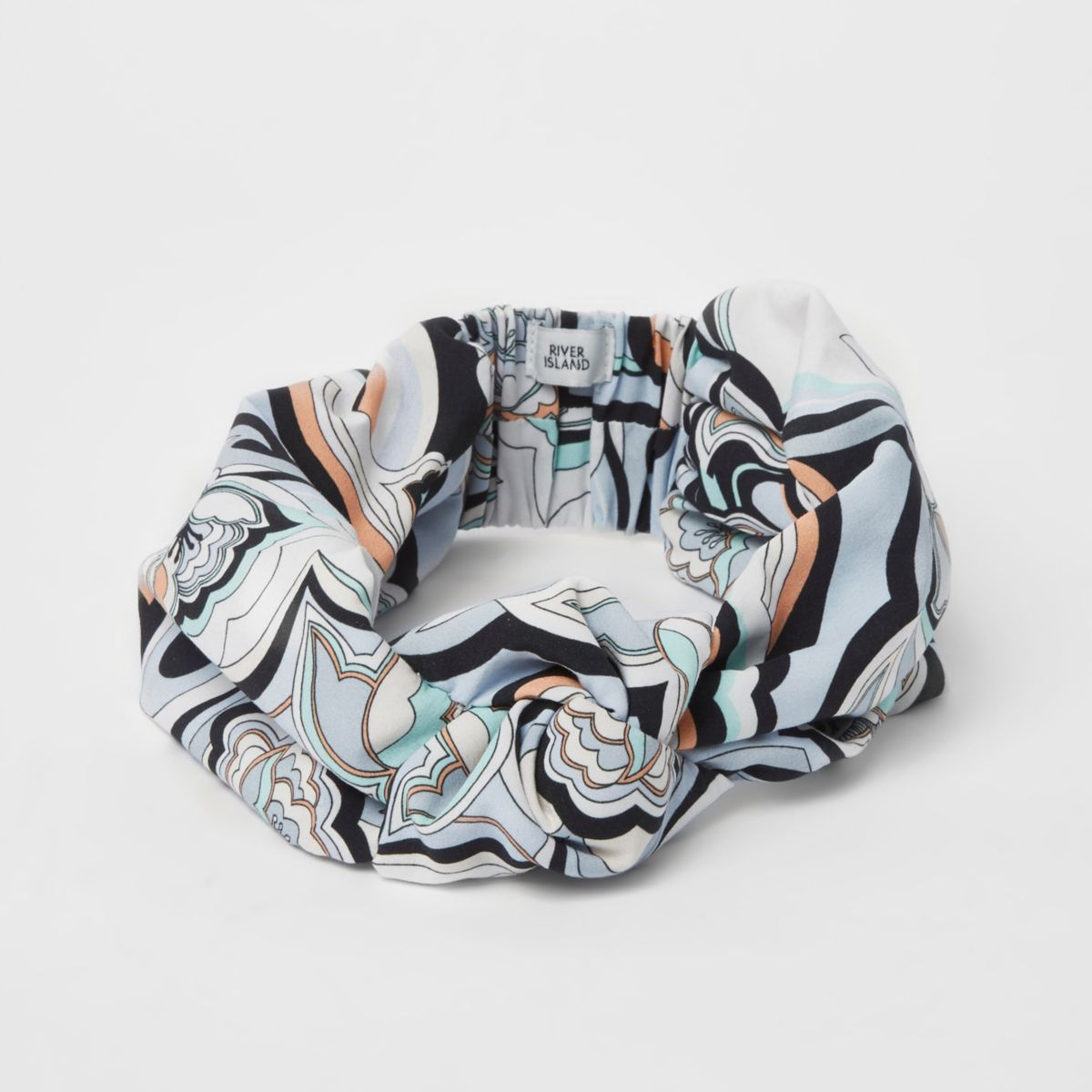 Blue swirly print knot front headband