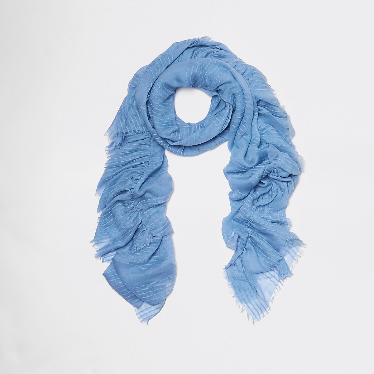 Blue textured stripe frill scarf