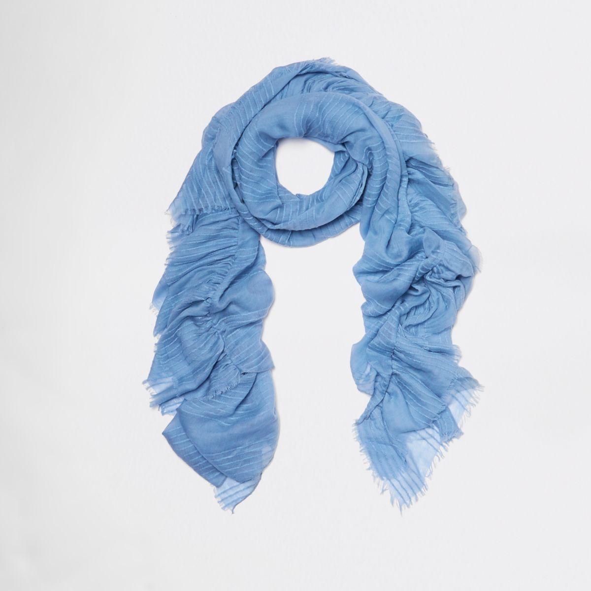 Blauwe gestreepte sjaal met textuur en ruches