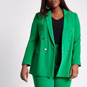 RI Plus - Groene double-breasted blazer met rimpelingen