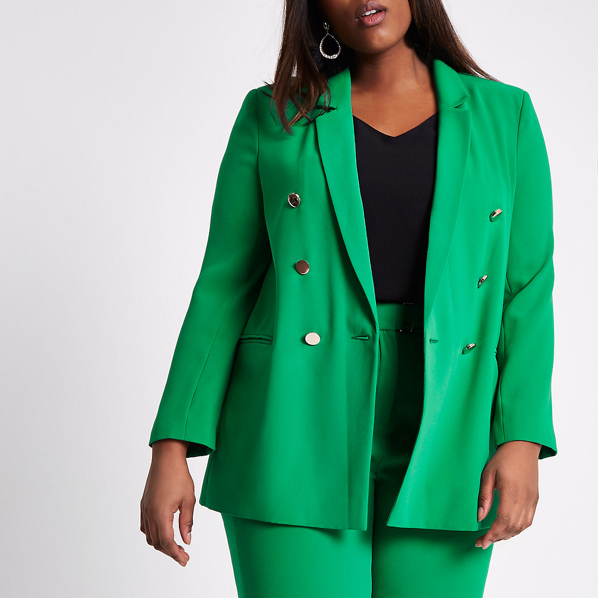 Plus green double breasted ruched blazer