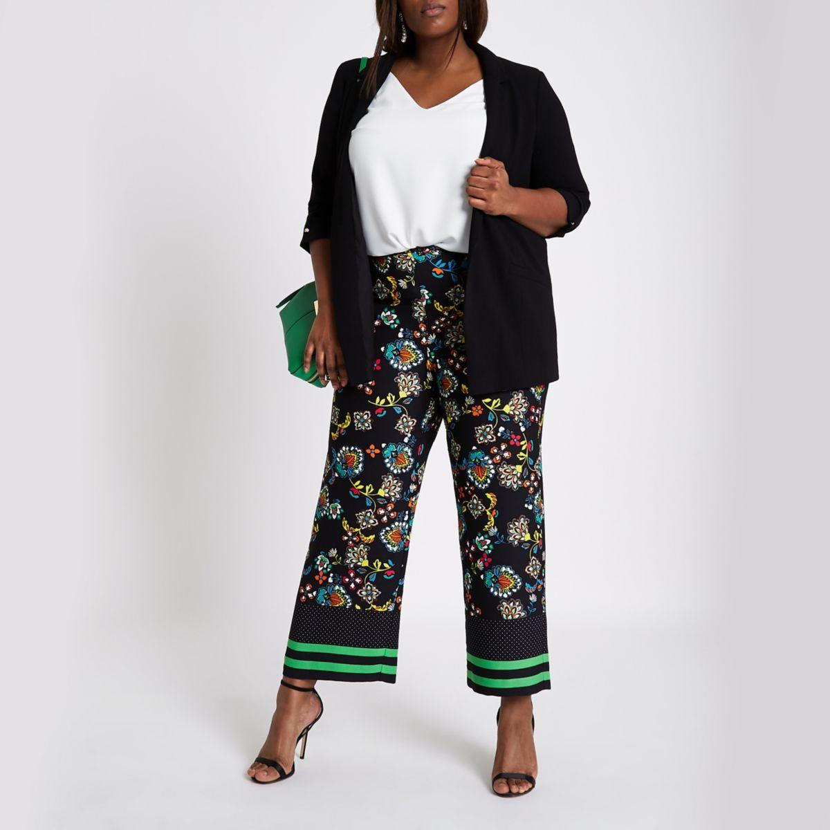 Plus black floral print wide leg trousers